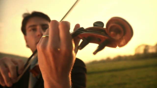 hd: musician inspired by nature - plucking an instrument stock videos and b-roll footage