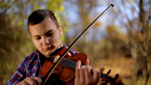 vídeos de stock e filmes b-roll de musician inspired by nature - violino