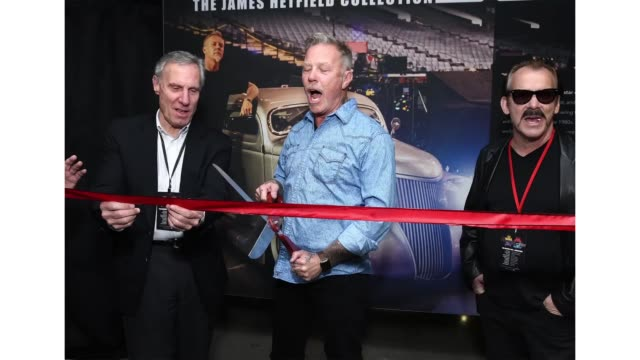 "musician james hetfield of metallica cuts the ribbon opening his custom automobile exhibit ""reclaimed rust: the james hetfeild collection"" at... - cut video transition stock videos & royalty-free footage"