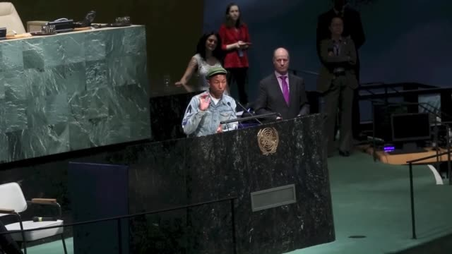 us musician pharrell williams speaks as part of an event marking international day of happiness at united nations headquarters in new york united... - united nations stock videos & royalty-free footage