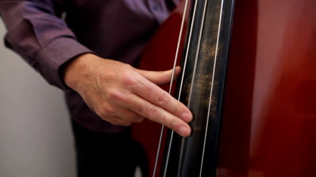 musician playing double bass next to the window - adult stock videos & royalty-free footage