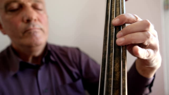 musician playing double bass next to the window - stringed instrument stock videos & royalty-free footage