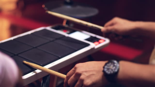 musician playing electronic drums. close up - rhythm stock videos and b-roll footage