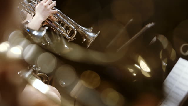 musician playing french horn during concert - orchestra stock videos & royalty-free footage