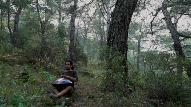 montage: musicista che suona la padella nella foresta (audio/audio disponibile) - montaggio in sequenza video stock e b–roll
