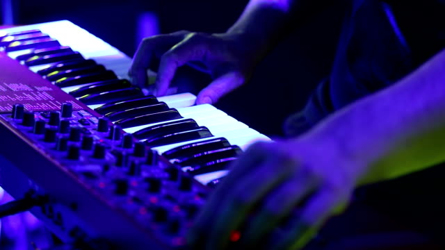 musician playing keyboard on the stage - synthesizer stock videos & royalty-free footage
