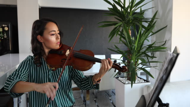 musician playing violin in the living room - violin stock videos & royalty-free footage
