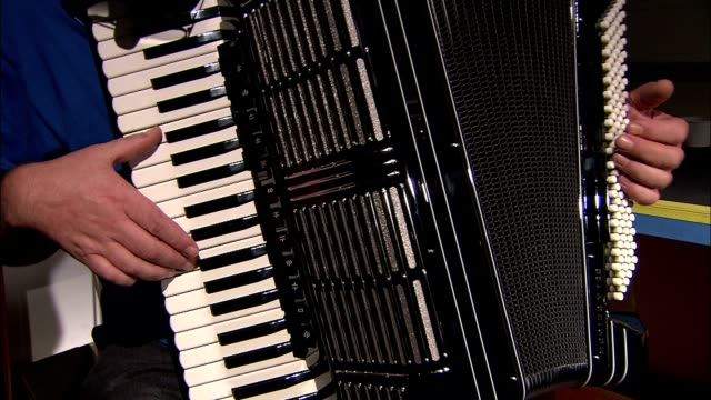 vídeos de stock e filmes b-roll de a musician tests the keys of an accordion. - acordeão instrumento