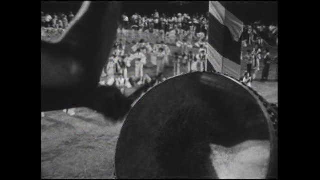 a musician uses traditional taiko drums as performers dance at the japan-u.s. goodwill bon festival dance in yokohama. - yukata video stock e b–roll