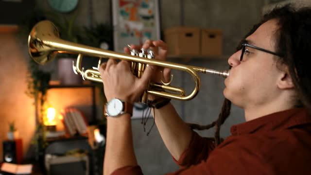 トランペットでジャズソングを演奏するドレッドロックを持つミュージシャン - レゲエ点の映像素材/bロール