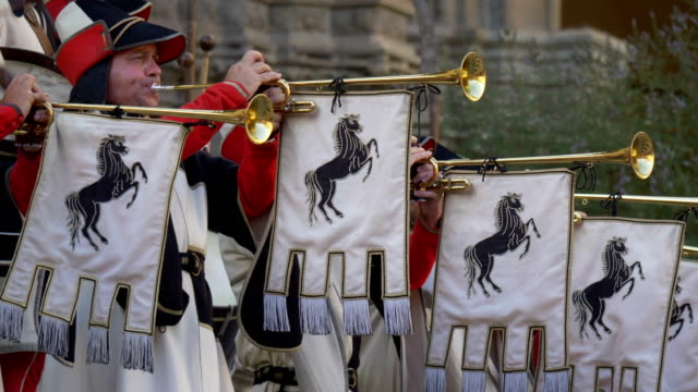 musicians dressed in ancient traditional costumes playing italian national hymn during a celebration on on july 28th 2017 in arezzo - brass instrument stock videos & royalty-free footage