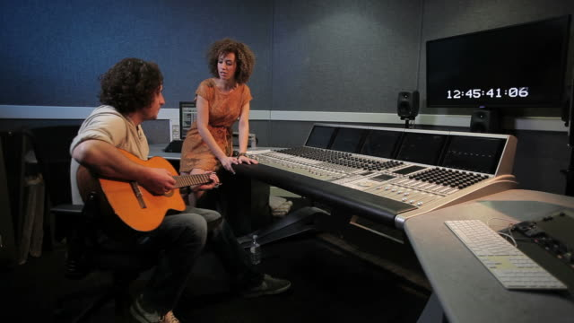 Musiciens en studio d'enregistrement