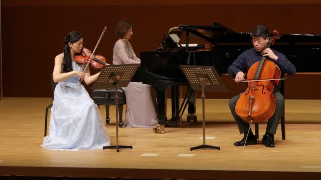 vidéos et rushes de musiciens jouant du violoncelle, du violon et du piano au concert classique - violoncelle