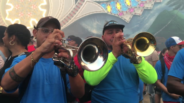 musicians with trumpets playing the traditional music of the annual event 'las parrandas de remedios' is a traditional festival with more than a... - brass band stock videos & royalty-free footage