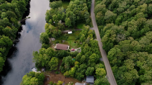 Muskoka River cottages from the air