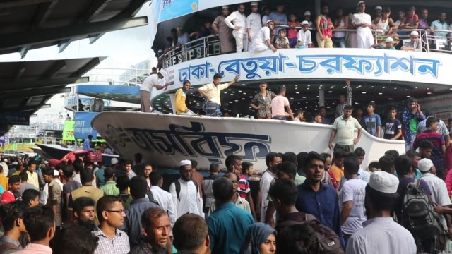 Muslim Bangladeshi homebound people gather at Sadarghat launch terminal as they travel to villages ahead of the Eid alFitr festival at Sadarghat...