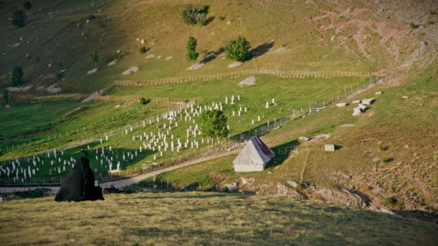ds muslim cemetery in mountains of bosnia and herzegovina - cemetery stock videos & royalty-free footage