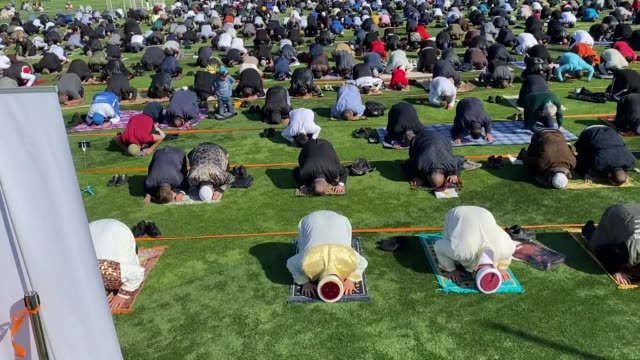 muslim community members in bulgaria welcomed eid alfitr which marks the end of the holy fasting month of ramadan performing the congregational... - fasting activity stock videos & royalty-free footage
