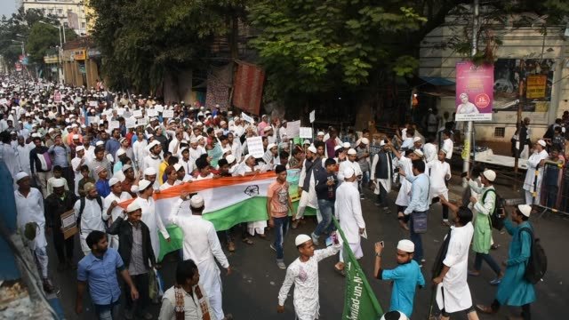 muslim community of kolkata in support of various islamic organisations of the state took to the street in kolkata to protest against citizenship... - citizenship stock videos & royalty-free footage