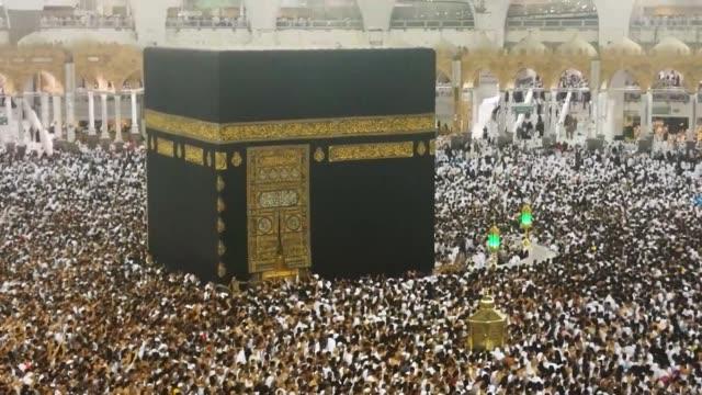 Muslim devotees circumambulate the Kaaba during the Muslim's holy fasting month of Ramadan in Mecca Saudi Arabia on June 16 2017