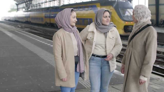 3 muslim european girls - hijab stock videos & royalty-free footage