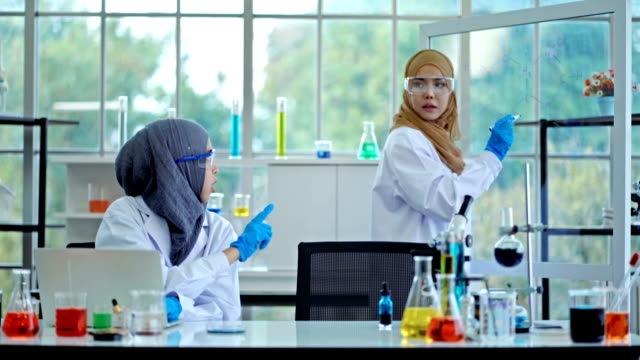 muslim female scientists brainstorming formula chemical on transparent board in laboratory - chemical formula stock videos & royalty-free footage