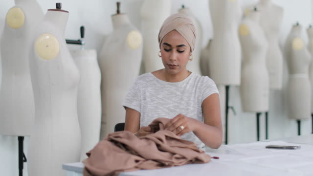 muslim female student fashion designer - independence stock videos & royalty-free footage