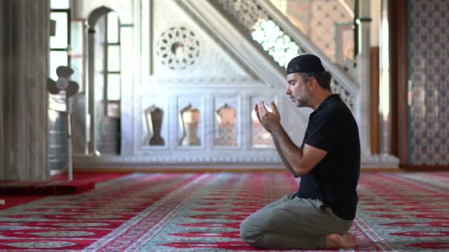muslim men prayer in mosque - praying stock videos & royalty-free footage