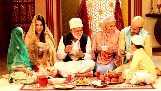 ms muslim multi generation family having food during ramadan / delhi, india - ramadan stock videos and b-roll footage