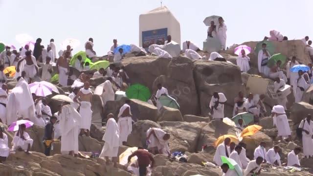 Muslim pilgrims are seen on the Mount Arafat also known as Jabal alRahmah where the Prophet Mohammed is believed to have given his final sermon in...