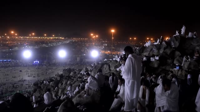 muslim pilgrims arrive at mount arafat also called jabal al-rahmah where the prophet mohammed is believed to have given his final sermon, in mecca,... - 2015 stock videos & royalty-free footage