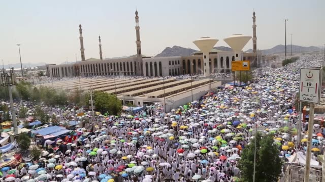 Muslim pilgrims converge on Mount Arafat where Prophet Muhammad delivered final sermon as part of the annual Hajj pilgrimage near the holy city of...