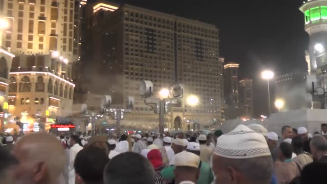 muslim pilgrims from all around the world circling around the kaaba islam's holiest site located in the center of the masjid alharam in mecca saudi... - al haram mosque stock videos and b-roll footage