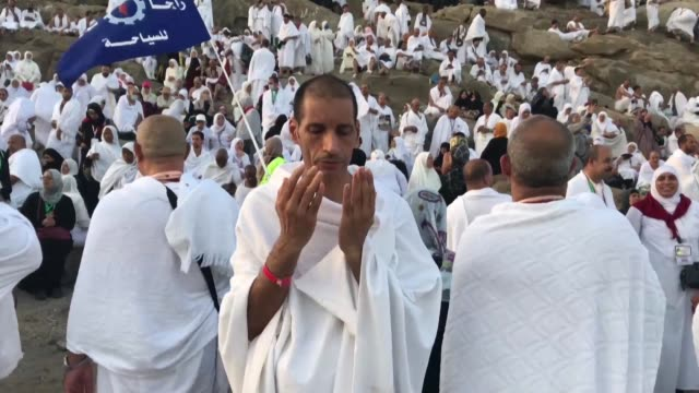 muslim pilgrims pray at mount arafat also known as jabal alrahma southeast of the saudi holy city of mecca as the climax of the hajj pilgrimage... - hajj stock videos & royalty-free footage