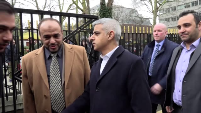 muslim prayer leader raafat maglad arrives at the london central mosque where a man was arrested on suspicion of attempted murder on thursday after... - london central mosque stock videos & royalty-free footage