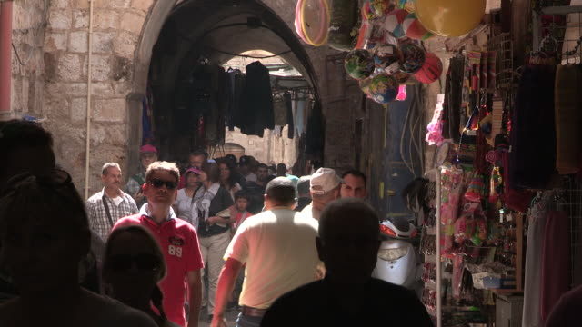 muslim quarter pedestrians, jerusalem, israel - old town stock videos & royalty-free footage