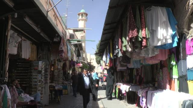 muslim quarter streets, jerusalem, israel - イスラエル点の映像素材/bロール