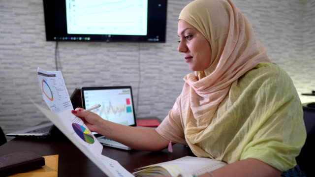 muslim woman looking online for new investment opportunities! - middle eastern culture stock videos & royalty-free footage
