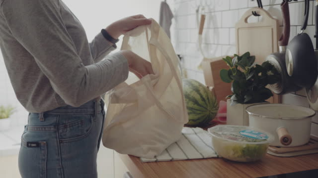 muslim woman returning home from shopping trip carrying groceries in plastic free bags - reusable bag stock videos & royalty-free footage