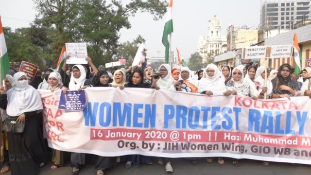 vidéos et rushes de muslim women led protest against citizenship amendment act national register of citizens national population register january 16 kolkata india - calcutta