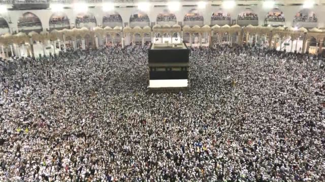 muslim worshippers circle around the kaaba islam's holiest site located in the center of the masjid alharam in the holy city of mecca saudi arabia on... - hajj stock videos & royalty-free footage