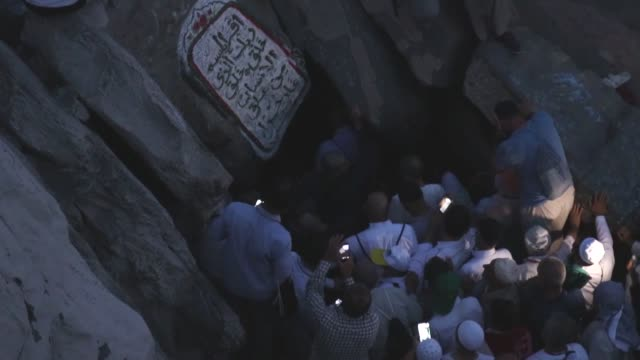muslim worshippers visit the hira cave at the top of the jabal alnour in the holy city of mecca saudi arabia on august 01 2019 ahead of the annual... - hajj stock videos & royalty-free footage