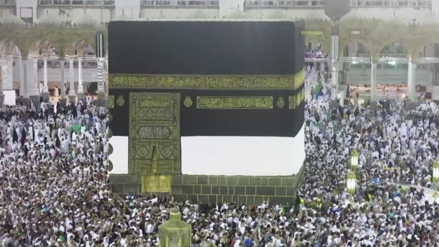 muslims from across the world have gathered in mecca in saudi arabia for the annual hajj pilgrimage and visited the kaaba islams holiest shrine at... - grand mosque stock videos and b-roll footage