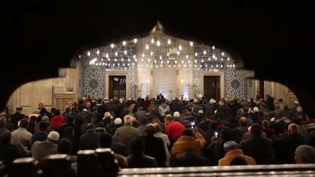 muslims observe the holy night of barat which is regarded as the night of forgiveness and salvation on april 19 2019 at selimiye mosque in edirne... - advent calendar stock videos & royalty-free footage
