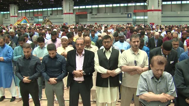 WGN Muslims participated in the prayer of Eid marking the end of the holy month of Ramadan in Chicago's McCormick Place on June 25 2017