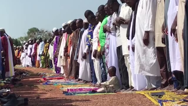 Muslims perform Eid Al Adha prayer at Siou village in Bamako town of Burkina Faso on September 02 2017 Muslims worldwide celebrate Eid AlAdha to...