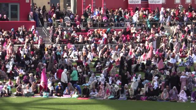 Muslims perform Eid Al-Adha prayer at Toyota Park Stadium Chicago