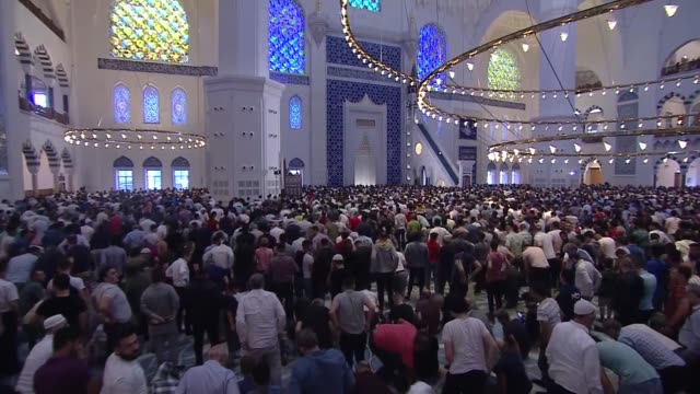 muslims perform eid alfitr prayer at camlica mosque in istanbul turkey on june 04 2019 eid alfitr is a religious holiday celebrated by muslims around... - eid mubarak stock videos & royalty-free footage