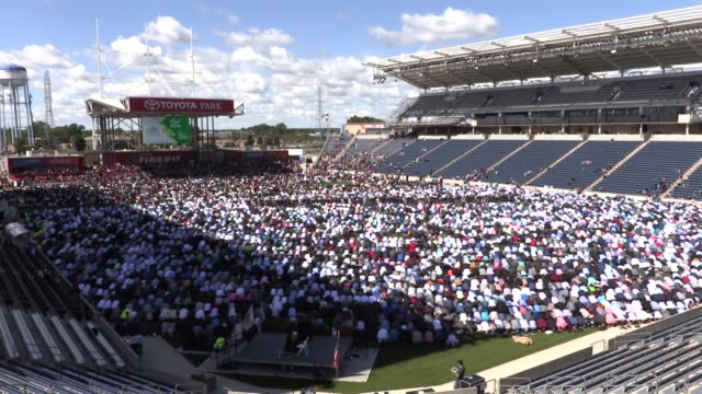 muslims perform eid alfitr prayer led by sheikh jamal said at toyota park stadium on the first day of the threeday eid alfitr festival marking the... - eid mubarak stock videos & royalty-free footage