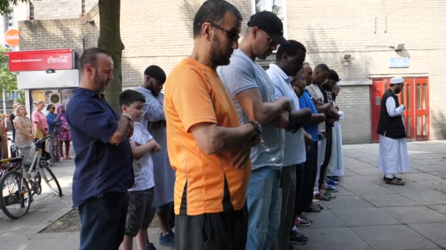 Muslims perform funeral prayer in absentia for the victims of the Grenfell Tower fire in London England on June 19 2017 The death toll from the...
